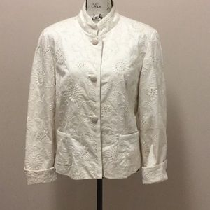 Talbots ivory embroidered jacket